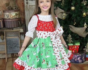 Christmas Holiday Pixie dress, red green white ruffled twirl dress, baby toddler tween girl dress, floral patchwork slip dress