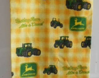 MadieBs John Deere Tractors and Logo on Yellow Plaid/Check Plastic Bag Holder Dispenser