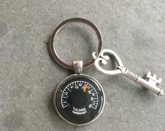 Thermometer Keychain Antique Silver with Ring and Key  Working Celsius and Fahrenheit Thermometer