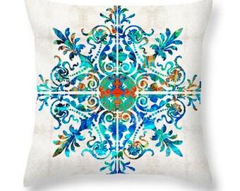 Throw Pillow Mandala Art COVER Design Home Pattern Sofa Bed Blue Aqua Red Beachy Beach Decor Artsy Decorating Living Room Bedroom Bedding