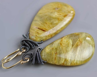 Golden Rutilated Quartz Earrings with Oxidized Silver Coils and 14k Gold Earwires