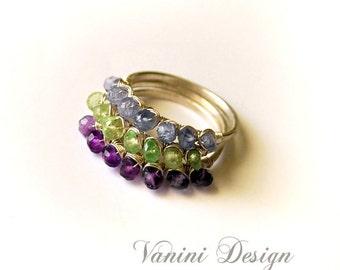 Gemstone Stacking Ring-Sterling Silver Gemstone Stacking Ring