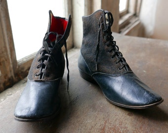 Victorian Lace Up Leather and Wool Boots Youth Size 3.5 - 4 Women's 5.5 - 6
