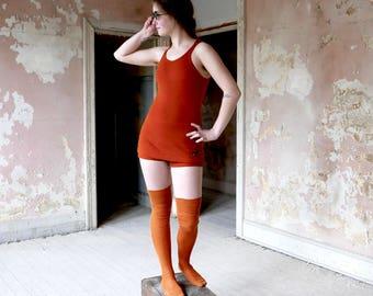 1920s Jantzen Orange Rust Wool Bathing Suit XS