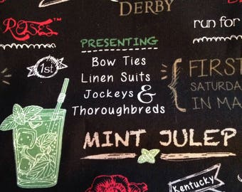 Mint Julep Fabric Kentucky Derby Run for the Roses Mint Julep Cocktail Fabric Decor BY THE YARD, Derby Fashion Decor chalkboard