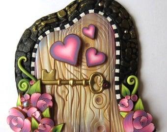Sweetheart Valentine Fairy Door Miniature Polymer Clay Door