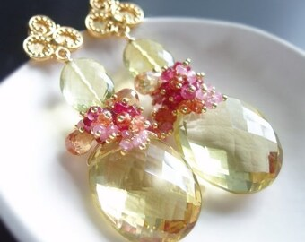 Valentines Day Sale - Custom Made to Order - Lemon Quartz Earrings with Pink Sapphire, Red Spinel, Tourmaline, and Topaz