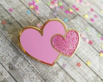 Heart pin, Bridesmaid gift, enamel pin, pink heart pin, glitter pin badge, gift for mum, brooch, girlfriend gift, love badge, UK shop