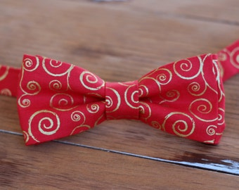 Boys Red Gold Holiday Bow Tie - boys swirl gold red bowtie - bow tie for baby infant toddler child preteen boy - holiday bow tie