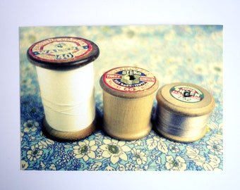 "Sewing / vintage cotton reel original photograph. Affordable fine art print 7 x 5"", blue brown white"