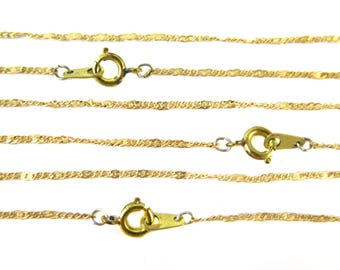 Vintage Brass Pressed Curb Chain Necklaces (4X) (15 inches) (C567)