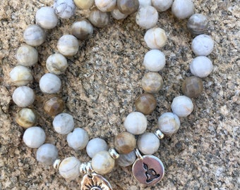 New - Luxe Silver Leaf Jasper Bracelet and Charm