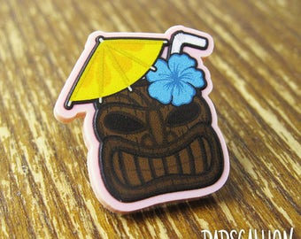 Tiki Cocktail Drink Acrylic Lapel Pin