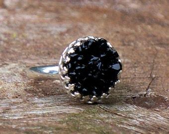 Recycled Antique Black Depression Glass Druzy Ring/Black Druzy/druzy ring/Gifts for Mom/Recycled Jewelry/Handmade/Mom Gifts