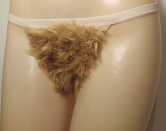 Size Large Merkin Thong Back Blonde Faux Fur Pubic Hair Wig Merkin39