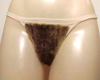 Size Medium Merkin Thong Back Brown Mink Faux Fur Vagina Pubic Hair Wig Merkin27