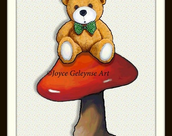 Teddy Bear on Toadstool, Polka Dotted Bow Tie, Cute, Whimsical, Red Mushroom, Whimsical, Nursery Decor, Original Art, Free Shipping