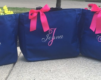 Personalized totes, Monogrammed Totes, Bridal Party Gifts, Bridesmaid Mother of the Bride, destination wedding favors
