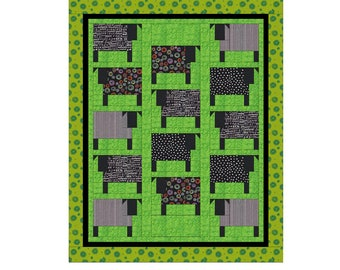 Pattern Only: Cowabunga! crib or wall quilt pattern PDF  Suitable for beginners and beyond