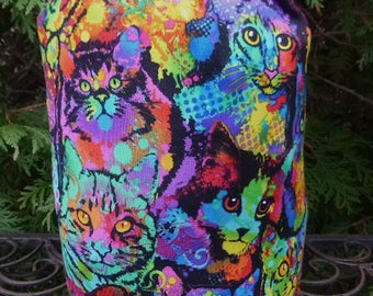 Cat knitting project bag, WIP bag, drawstring bag, Painted Cats, Suebee