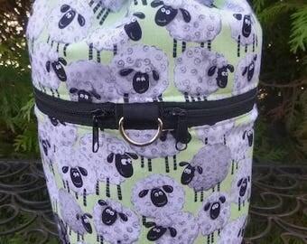 Sheep knitting bag, drawstring bag, knitting in public bag, small project bag, Smiley Sheep, Kipster