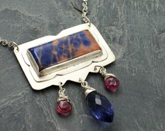Prairie Rain Necklace. Sodalite Cabochon. Sterling Silver Jewelry. Iolite Tourmaline Gemstone. Sodalite Necklace. Cabochon Pendant.