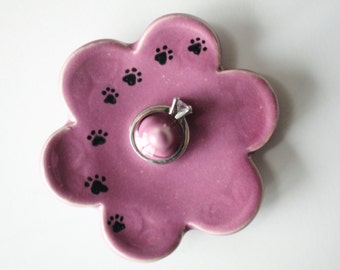 Kitty Paw Prints on Pink Ring Holder, Ring Dish, Ring Bowl, Violet Pink