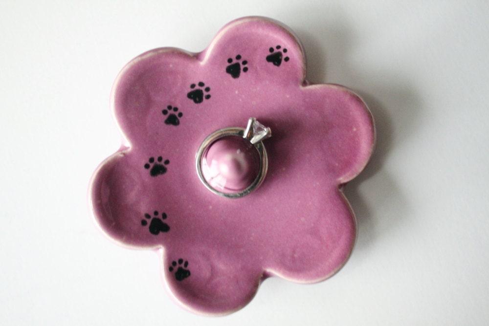 Amigurumi Kitty Ring Holder : Kitty Paw Prints on Pink Ring Holder Ring Dish Ring Bowl