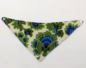 Vintage Floral Bandana Bib, Green & Blue Drool Bib Reversible to Blue Floral, Newborn Gift, Shower Gift, New Baby, Drool Bib, Reversible Bib