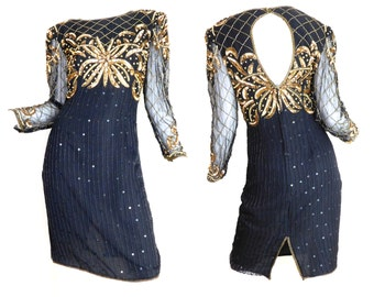 Sz S 80s Beaded Sequin Cocktail Dress - Women's Vintage Keyhole Cutout Back Black Silk and Gold Sequin Formal Party Dress - Size Small