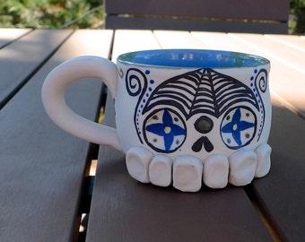 hand thrown porcelain Sugar Skull mug