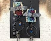 RESERVED LISTING Raku Ceramic Bead Earrings with Quartz and Swarovski Crystals Jewelry Gifts Handmade        by MAKUstudio