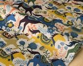 Japanese Fabric Happy Ponies - peach, yellow, blue - 50cm