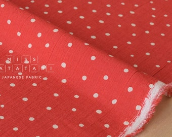 Japanese Fabric Cotton Voile - starry dots - bright red - 50cm