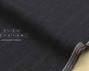 Japanese fabric 100% linen yarn dyed PLAID - charcoal grey - 50cm