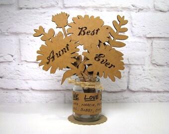 BEST AUNT EVER Corrugated Cardboard Flowers Bouquet In Mini Mason Jar Great Gift Idea