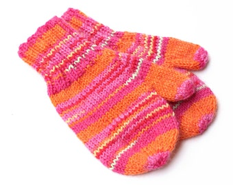 Toddler Girl Knit Pink and Orange Mittens With Thumbs. 12 to 18 Months. Kids Thumbed Winter Mittens. Childs Wool Handwarmers