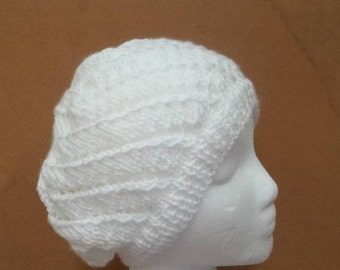 White beanie hat with eyelets hand knitted hat    5280