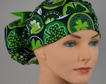 Scrub Hats // Scrub Caps // Scrub Hats for Women // The Hat Cottage // Ponytail //St. Patrick's Day Shamrocks