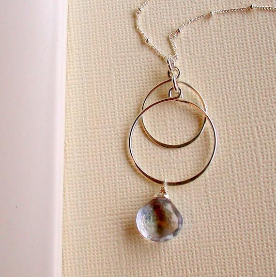 Sale. Blue Quartz Pendant Necklace. Hoop Pendant Necklace. Cascading Hoop Pendant. Mystic Blue Quartz Pendant Necklace