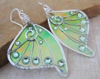Sihaya Designs Faery Wing Earrings - Undine Green - Iridescent Fairy Wing Jewelry