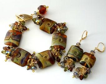 Lampwork Bracelet and Earrings, Two Piece Set, Root Beer, Caramel, Deep Copper Brown, Green Swirls, OOAK, Beaded Bracelet and Earrings