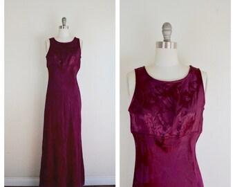 80s burgundy brocade sleeveless dress /  silky long grunge dress/  small