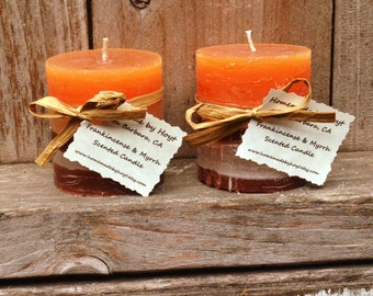 Pair of Frankincense and Myrrh Scented Tiny Round Pillar Candles