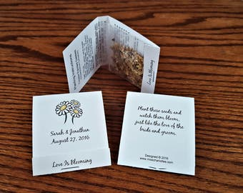 Personalized Wedding Daisy Wildflower Seed Packet Favors Matchbook Style