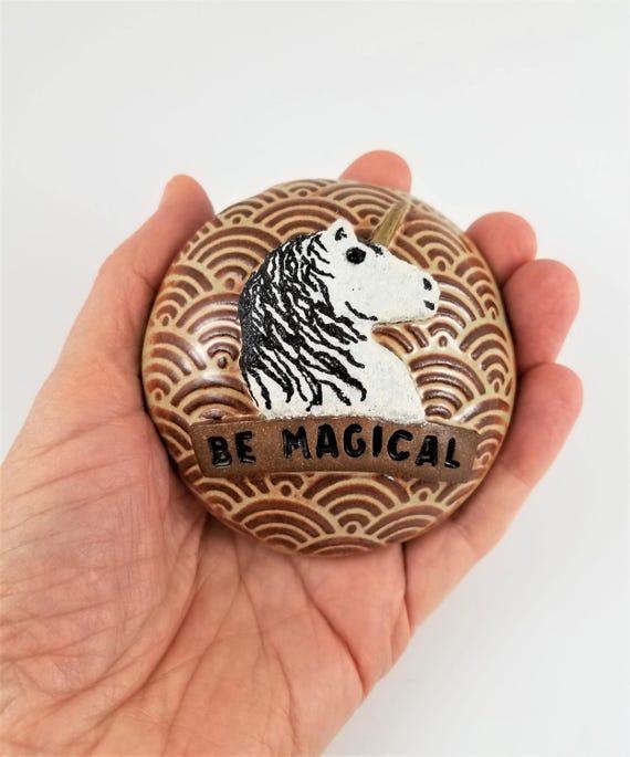 Handmade Pottery - Paperweight - Ceramic - Spirit Rattle - Rattle - Unicorn - Gift for Teen - Meditation - Relaxation - Meditation Tool