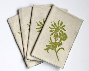 Daisy and Thistle Handmade Block Printed Napkin Set of Four- Cotton Napkin Set- Rolled hem edge