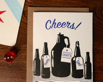 letterpress cheers! happy father's day greeting card homebrew birthday card bottles beer celebrate toast prost
