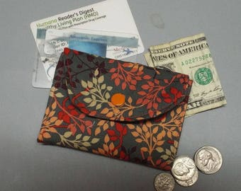 Mini Wallet Rustic Leaves Fabric