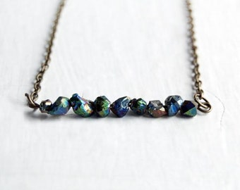 Rainbow Quartz Necklace / Rainbow Aura Quartz Bar Necklace / Simple Beaded Necklace / Protect / Modern Necklace
